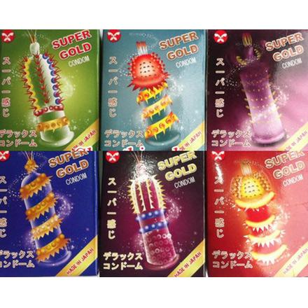 5 hộp bao cao su độc lạ siêu gân gai SUPER GOLD Nhật